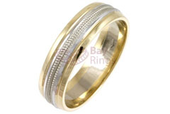 9ct/18ct Gold Two Tone Rope Patterned Wedding Rings