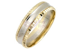 9ct/18ct Gold Two Tone Fancy Cut Edges Wedding Rings