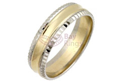 9ct/18ct Gold Two Tone Fancy Cut Edge Wedding Rings