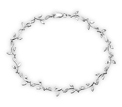 9ct White Gold 0.10ct Diamond Leaf Link Bracelet