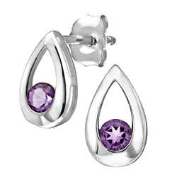 9ct White Gold Amethyst Tear Drop Earrings