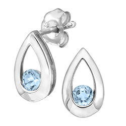 9ct White Gold Blue Topaz Tear Drop Earrings