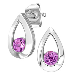 9ct White Gold Pink Sapphire Tear Drop Earrings