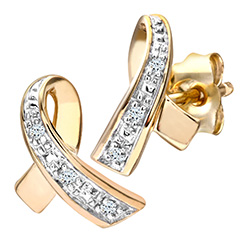 9ct Yellow Gold Diamond Kiss Stud Earrings