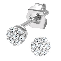 9ct White Gold 0.07ct Diamond Cluster Earrings