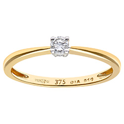 Engagement Ring, 9ct Yellow Gold 0.10ct Round Brilliant Diamond Ring