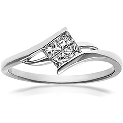 Engagement Ring, 18ct White Gold 0.25ct Princess Cut Diamonds Solitare Look Ring