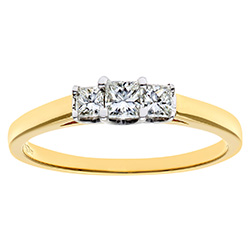Trilogy Ring, 18ct Yellow Gold 0.33ct Certified Princess Cut Diamond Ring