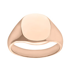 Engravable Men's  Solid 9ct Rose Gold Cushion Signet Ring