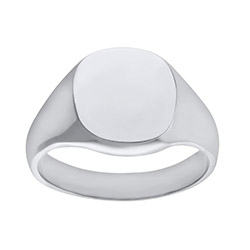 Engravable Men's  Solid 9ct White Gold Cushion Signet Ring