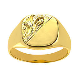 Mens Engraved Cushion Signet Ring