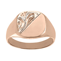 Men's Solid Engraved Cushion  9ct Rose Gold Signet Ring