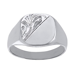 Men's  Solid Engraved Cushion  9ct Gold White Signet Ring