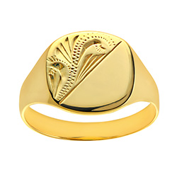 Solid 9ct Gold Ladies Engraved Cushion Signet Ring