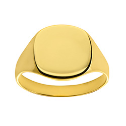 Engravable Solid 9ct Gold Ladies Cushion Signet Ring | Engravable Solid 9ct Gold Ladies Cushion Signet Ring