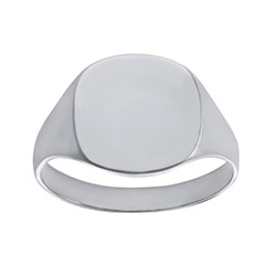 Ladies Solid Cushion White Gold Signet Ring | Ladies 9ct White Gold Plain Cushion Signet Ring