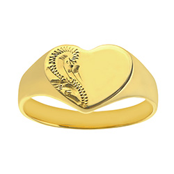 Ladies Engraved Heart Signet Ring