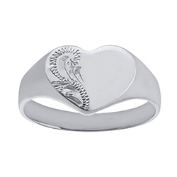 Ladies Solid Engraved Heart White Gold Signet Ring | Ladies 9ct White Gold Engraved Heart Signet Ring
