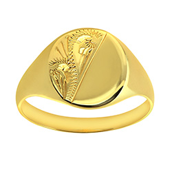 Ladies Engraved Oval Signet Ring