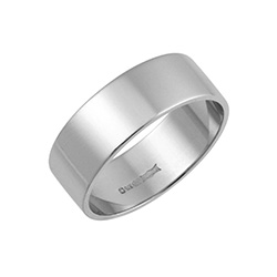 18ct White Gold Flat Wedding Rings