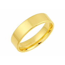 9ct Yellow Gold Flat Court Wedding Rings