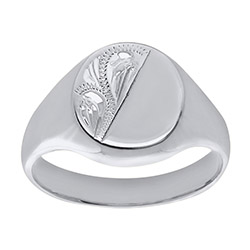 Men's Solid Engraved Oval White Gold Signet Ring