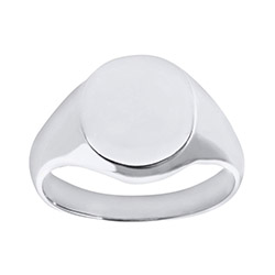 Engravable Men's Solid 9ct White Gold Oval Signet Ring