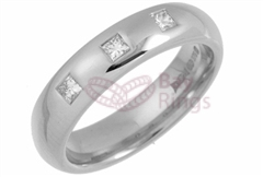 Platinum 0.15ct Princess Cut Diamonds Wedding Rings