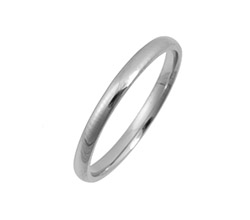 2 mm Platinum Light Court Polished    Wedding Ring
