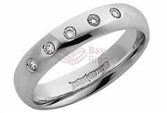 Platinum Five Diamonds Wedding Ring