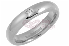 Platinum 0.05ct Princess Cut Diamond Wedding Rings