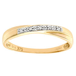 Women`s 9ct Yellow Gold Diamond Wedding Band