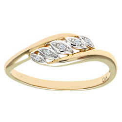 9ct Yellow Gold Round Brilliant Cut Diamond Fancy Ring