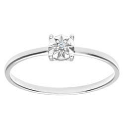 9ct White Gold Illusion Set Round Brilliant Cut Diamond Solitare Ring