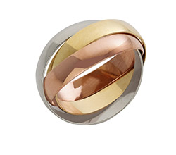 Solid 9ct Gold Three Colour Russian  Ring