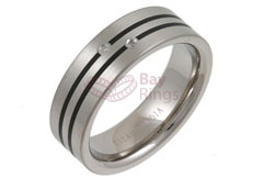 Enamelled & Two Diamonds Set Titanium Ring | Enamelled & Diamond Set Titanium Ring