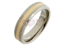 Titanium Ring Gold Inlaid Bevelled Edge
