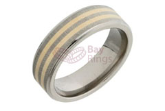 Titanium Flat Court Ring Two Gold Inlaid Bands | Gold Inlaid Titanium Ring