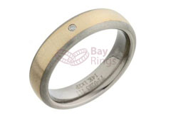 Titanium Ring Gold Inlaid 0.02ct Diamond Set | Gold Inlaid & Diamond Set Titanium Ring