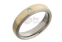 Titanium Ring Gold Inlaid 0.05ct Diamond Set