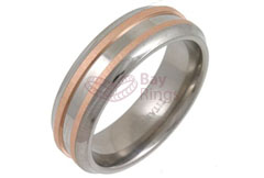 Titanium Ring Rose Gold Double Inlaid Layers Bevelled Edged