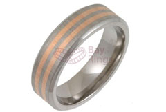 Titanium Ring Rose Gold Inlaid