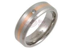 Titanium Ring Rose Gold Inlaid Diamond Set