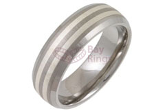 Titanium Ring Two Silver Inlaid Bands Bevelled Edged