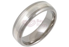 Titanium Court Ring Silver Inlaid Bevelled Edged