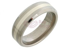 Titanium Silver Inlaid Bevelled Edged Ring