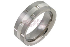 Titanium Ring Silver Inlaid Grooved Brick Style