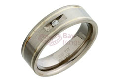 Titanium Ring Two Silver Inlaid Bands Diamond Fancy Set | Silver Inlaid & Diamond Set Titanium Ring