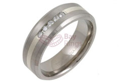 Titanium Ring Silver Inlaid Five Diamonds