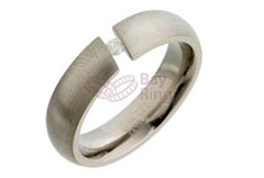 Tension Set Diamond Titanium Ring